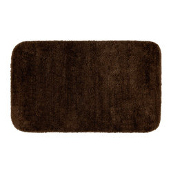 None - Plush Deluxe Espresso Washable Bath Rug - Relish the luxurious softness of the Plush Deluxe bathroom collection. The brown rug adds a note of tasteful color with easy to clean features of nylon and the added safety of non-skid backing.