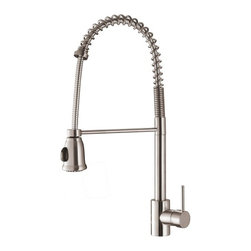 Ruvati - Ruvati RVF1215ST Commercial Style Pullout Spray Kitchen Faucet - Stainless Steel - This premium Ruvati kitchen faucet from the Cascada collection is constructed of solid brass giving it exceptional durability. The ceramic disc cartridge ensures drip-free functionality. The faucet can be installed into countertops up to two inches thick. Hot and cold water connection hoses are included.