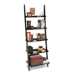 Convenience Concepts - 24 in. Ladder Bookshelf in Black - Stained birch veneer on particle board shelves. Solid poplar legs. Limited warranty. Assembly required. 24 in. W x 14 in. D x 72 in. H (27.5 lbs.)Matches other items in American Heritage Collection.