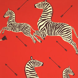 Zebras Wallpaper, Masai Red - I have been majorly smitten with this wallpaper ever since Wes Anderson introduced me to it in the Royal Tenenbaums. Even if you can only afford enough of it to cover a small closet, I would highly suggest you go for it.