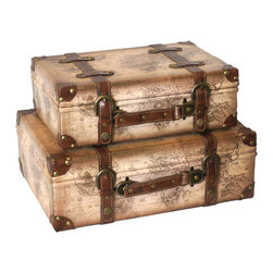Old World Map Leather Vintage Style Suitcase with Straps Set of 2 - Decorative old style suitcase from Quickway Imports that is great for storage and decoration, And will fill any empty place in your home or heart.