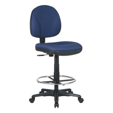 Office Star - Office Drafting Chair with Stool Kit (Black i - Fabric: Black in Icon PatternDrafting chair has contoured padded seat and back cushions with a lever that adjusts the seat height.  Back and seat depth are also adjustable.  Chair swivels 360 degrees and has five legs with casters.  Choose your fabric color.  Its Contoured Seat is also Padded which makes it ideal for prolonged use. * Click to visualize features. Pneumatic Seat Height (1). Back Height Adjustment (2). Seat Depth Adjustment (3). 360° Swivel (4). . Grade A Fabric. 47.5 in. H x 20 in. W x 23.25 in. D. Adjustable seat height: 24.75 - 29.75 in. H