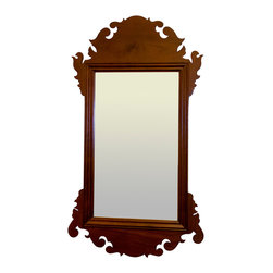 Eldred Wheeler - Large Chippendale Mirror in Cherry - These country Chippendale mirrors were made in New England during the last quarter of the 18th Century. Since mirror glass was very expensive, it was relatively uncommon to find native crafted mirrors of this size. Our mirror includes the same detailed scrolling as the original. The back of the scroll work is appropriately blocked, and the mirror back is covered with a thin piece of pine.