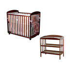 """Da Vinci - DaVinci Alpha Mini Rocking Wood Baby Crib Set in Cherry Finish - Da Vinci - Baby Crib Sets - M0598CM1302CPpkg - Change baby with this classic MDB changer. Easy to assemble. Easy to use. A versatile changer that will complete any nursery d��cor. This changer includes a 1"""""""" waterproof changer pad and a metal support bracket underneath the shelf to enhance baby safety. It features two shelves for added convenience. Safety strap also included. Made of Pine wood. Features:"""