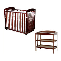 "Da Vinci - DaVinci Alpha Mini Rocking Wood Baby Crib Set in Cherry Finish - Da Vinci - Baby Crib Sets - M0598CM1302CPpkg - Change baby with this classic MDB changer. Easy to assemble. Easy to use. A versatile changer that will complete any nursery d��cor. This changer includes a 1"""" waterproof changer pad and a metal support bracket underneath the shelf to enhance baby safety. It features two shelves for added convenience. Safety strap also included. Made of Pine wood. Features:"