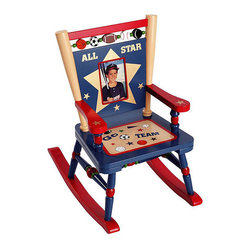 Levels of Discovery - Levels Of Discovery All-star Sports Mini Rocker Chair - Add a fun element to your baseball enthusiast's room with this kid's rocking chair. This sports-themed chair is crafted from durable hardwood and MDF. A photo frame set in the backrest provides the ideal place for your little slugger's photo.