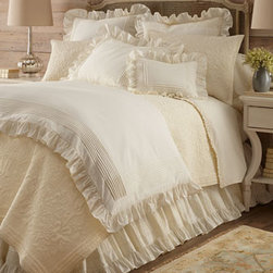 """Horchow - Full Louisa Dust Skirt - Louisa bed linens, dressed up with tiny tucks, embroidery, and 3"""" ruffles, come in your choice of white or ivory. 200-thread-count cotton. Duvet covers have hidden button closure; shams have tie closure. Gathered dust skirts have split corners and...."""