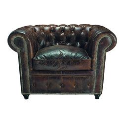 Brown Leather Armchair - I'm not usually a fan of leather furniture, but this tufted Chesterfield-style armchair looks wonderful for lounging. The leather is worn for a vintage look, also making it soft and ready for curling up with a book.