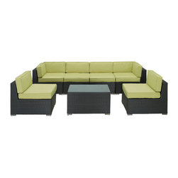 LexMod - Aero Outdoor Wicker Patio 7 Piece Sectional Sofa Set in Espresso with Peridot Cu - Introduce aerodynamic comfort with the Aero Outdoor Sectional Set. Welcome your friends and family to a motivational setting of exceptional appeal. Aero is a versatile seating environment built for patio, backyard or pool areas in need of something dynamic.