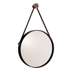 Arteriors Home - Arteriors Home Expedition Iron Mirror with Polished Nickel Hanger - Arteriors Ho - Arteriors Home 3002 - Round mirror with black iron frame is accented with polished nickel hardware. Mirror hangs from a black leather strap and a polished nickel finish metal nob.