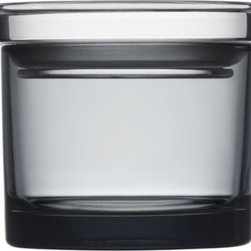 "iittala - Jars Light Grey 3.15"" Jars (Set of 2) - Modern life in functional spaces. Combine storage and decoration with Iittala's high quality glass jars. In a series of colors and sizes, the mouth-blown jars are perfect for storing pasta, herbs, chocolate, or whatever needs a space. Featuring a transparent, plastic lid, the Jars collection will continue to reinvent itself in your kitchen or modern home. Cool and contemporary organization and storage, and beautiful photographic glimpses of your everyday life in perpetual change. Features: -Set of two Jars with lids . -High quality glass. -Not dishwasher safe, hand wash only. -Dimensions: 3.15"" H x 2.56"" W."