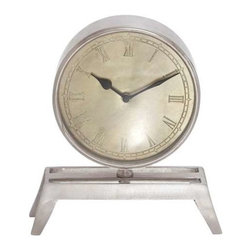 Benzara - Big Round Metal Table Clock with Vintage Table-Like Stand - Big Round Metal Table Clock with Vintage Table-Like Stand. If you love your antiques and collectibles, then you will fall in love with this one of a kind metal table clock. The dimensions of the metal table clock are 11 x 3 e x 12. Some assembly may be required.
