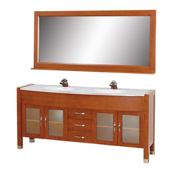 Wyndham - Daytona 71in. Double Bathroom Vanity Set - Cherry/White - The Daytona 71 in.  Double Bathroom Vanity Set - a modern classic with elegant, contemporary lines. This beautiful centerpiece, made in solid, eco-friendly zero emissions wood, comes complete with mirror and choice of counter for any decor. From fully extending drawer glides and soft-close doors to the 3/4 in.  glass or marble counter, quality comes first, like all Wyndham Collection products. Doors are made with fully framed glass inserts, and back paneling is standard. Available in gorgeous contemporary Cherry or rich, warm Espresso (a true Espresso that's not almost black to cover inferior wood imperfections). Transform your bathroom into a talking point with this Wyndham Collection original design, only available in limited numbers. All counters are pre-drilled for single-hole faucets, but stone counters may have additional holes drilled on-site.