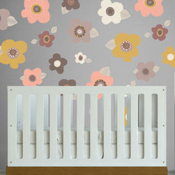 the lovely wall co - Sketched Floral - Wall Decal, Dusty Hues - 16 individual flowers -