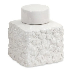 IMAX CORPORATION - Walton Seashell Lidded Jar - Small - This chic white lidded jar is transformed into classy coastal with a rich texture of overlapping seashell impressions. Find home furnishings, decor, and accessories from Posh Urban Furnishings. Beautiful, stylish furniture and decor that will brighten your home instantly. Shop modern, traditional, vintage, and world designs.