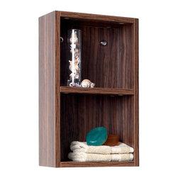 Fresca - Fresca Black Bathroom Linen Side Cabinet w/ 2 Open Storage Areas, Walnut - Fresca Walnut Bathroom Linen Side Cabinet w/ 2 Open Storage Areas