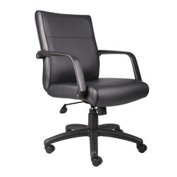 BossChair - Boss Mid Back Executive Chair in Leatherplus - Beautifully upholstered in black LeatherPlus. LeatherPlus is leather that is polyurethane infused for added softness and durability. Passive ergonomic seating with built-in lumbar support. Large 27 nylon base for greater stability. Hooded double wheel casters. Upright locking position. Pneumatic gas lift seat height adjustment. Adjustable tilt tension control. Optional knee-tilt mechanism upgrade available (B687). Matching guest chair with black polished steel legs (B689).