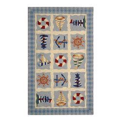 Safavieh - Hand-hooked Sailor Ivory Wool Rug (2'9 x 4'9) - This charming hand-hooked ivory wool rug features a nautical motif on a muted blue background. This area rug freshens any room with panels featuring cheerful red and white lifesavers,green sailboats,blue and white lighthouses,and blue anchors.