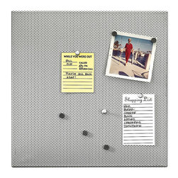 Umbra - Home Office Bulletin Board - Streamline your work space with this sleek bulletin board. Give your office an update from cork and sticky notes, upgrading to tasteful metal and easy magnets and push pins. Now your organization efforts can be stylish AND practical!