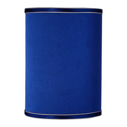 """Lamps Plus - Contemporary Sydnee Satin Dark Blue Cylinder Lamp Shade 8x8x11 (Spider) - Easily add a new look to your home with this perfectly versatile dark blue cylinder shade. Lustrous satin is paired with a detailed silver gray trim and matching liner for a delightfully dynamic design plus a convenient chrome spider fitter that makes it easy to refresh your favorite lamps with color and elegance. The correct size harp is included free with this purchase. From the Sydnee Collection. Hardback cylinder lamp shade. Dark blue satin exterior. Silver piping. Silver liner. Chrome spider fitter. 8"""" across the top. 8"""" across the bottom. 11"""" high.  Dark blue satin cylinder shade.  Silver gray trim and liner.  Chrome finish spider fitter.  8"""" across the top.  8"""" across the bottom.  11"""" high."""