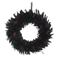 Feather Wreath - Black/Red - I like this unique Halloween wreath because it looks classy but appropriate for the holiday. This works indoors and on the front door. I would love to hang this on the coat closet door where people can see it as they enter the house.
