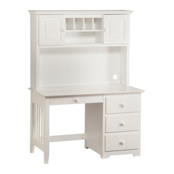 Atlantic Furniture - Windsor Computer Desk / Hutch in White - If you have been searching for a great workspace that is not going to take up too much space the Windsor Computer Desk with Hutch in White Finish by Atlantic Furniture is for you. Ships fully assembled is made of solid Eco-friendly Hardwood and is available in four distinct finishes. The Windsor Desk comes standard with three drawers and a fourth center drawer. The Windsor Hutch for even more storage and giving the desk a more complete appearance.