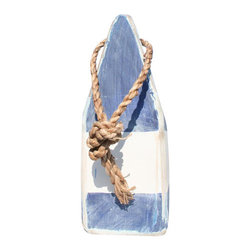 """9"""" Nautical Wood Buoy-- Blue/White/Blue - Add a nautical element of style to your indoor or outdoor living areas. Our wooden buoys are individually hand painted in classic nautical colors. Place on a tabletop or hang from the walls."""