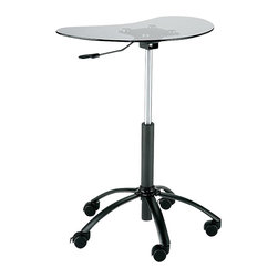 Euro Style - Mobile Laptop Stand with Adjustable Height - Made of Aluminum Base and Tempered Glass top. Locking casters & gas lift. Picture in Graphite Black and Smoked Glass. Available in various finishes. Some assembly required. Assembly Instructions. 25 in. W x 22.5 in. L x 31.25 in. H (17.12 lbs.).