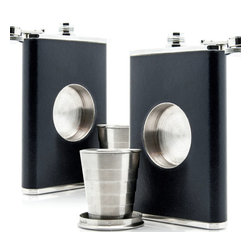 Modern Black Steel Flask - Set of 2 - As you hop from party to party, it's all the same—cheap wine and mediocre beer. Unlike most flasks, it includes a built-in, expandable shot glass so you can sip your schnapps in style (and without looking like a lush). Consider it your pocket-sized survival kit.