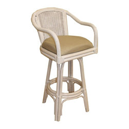 Hospitality Rattan - Indoor Swivel Rattan-Wicker 30 in. Bar Stool - Whitewash Finish (Tropic Tobacco) - Fabric: Tropic Tobacco. Made of Rattan Poles & Woven Wicker. Finished in White Wash Color. Includes cushion with choice of fabric in a variety of colors and patterns. Swivel Mechanism included. Constructed of commercial quality rattan poles. Requires Some Assembly (Instructions Included). Overall: 23 in. L x 23 in. W x 43 in. H (25 lbs.)A traditional wicker and rattan swivel barstool that is built with solid rattan pole construction reinforced with a pencil rattan twist. The Key West Collection offers three basic finishes. The barstools and counter stools feature commercial grade reinforced rattan bases, swivel mechanisms & reinforced double pole footrests. In addition your choice of over 45 fabrics is available on the Key West Collection. Some Assembly Required.