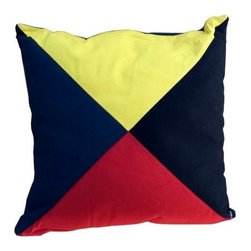 """Handcrafted Nautical Decor - Nautical Flag Letter Z Pillow 15"""" - Pillow Decoration - This Letter Z Nautical Alphabet Pillow 15"""" combines comfort and the highly popular nautical letter design on our decorative pillow. Ideal for those looking to accent their home with a decorative nautical theme, place this pillow in your home to show guests your affinity for the nautical lifestyle."""