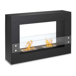 """Ignis Tectum 47"""" x 32"""" Freestanding Ventless Ethanol Fireplace FSF-004 - An extremely versatile freestanding ethanol fireplace Tectum this unit can be placed in any spot of any room. A black powder coated frame and glass panels on both sides provide safety and a designer touch. Put in the middle of the room and view the flame from anywhere or against the wall and hang your flat screen over it. The options with this Ignis fireplace are endless."""