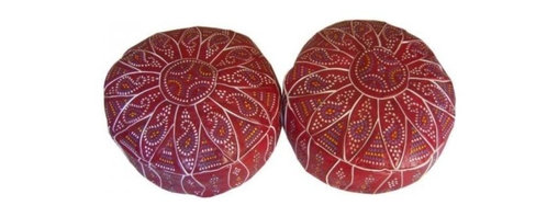 Moroccan Leather Poufs- Pouffe- Pair - Handcrafted- very soft geniune Leather .
