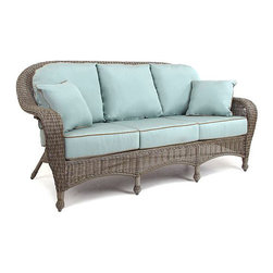 Sandy Cove Outdoor Wicker Sofa - Outdoor wicker seating is a classic. These spa-colored weather-resistant cushions add the perfect touch.