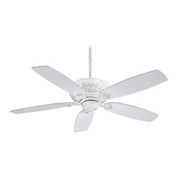 "Minka Aire - Traditional 54"" Minka Aire Classica Provencal Blanc Ceiling Fan - A smooth blend of timeless form and function distinguishes the Classica ceiling fan. This simple design is enhanced by raised old world detailing on the motor. The fan motor features a Provencal Blanc finish and five blades coordinate with a matching finish. From Minka Aire. Lifetime motor warranty. Pull chain operation. 3 1/2"" and 6"" downrods included. 54"" blade span. 14 degree blade pitch.(UM)  Provencal blanc motor finish.  Matching blades.  54"" blade span.   14 degree blade pitch.  ENERGY STAR® rated.  172 x 16 mm motor size.  Lifetime motor warranty.   Pull chain operation.   3 1/2"" and 6"" downrods included.   Fan is 10 1/2"" from ceiling to blade (with 3 1/2"" downrod)."