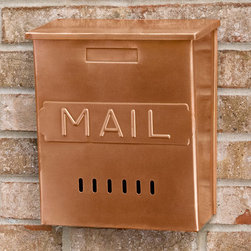 "Vertical 'Mail' Wall-Mount Copper Mailbox - This solid copper mailbox features a classic ""Mail"" imprint on its front."