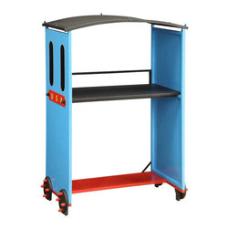 Adarn Inc - Youth Colorful Red Blue Black 2-Tier Fixed Shelf Metal Display Desk with Wheels - Features: