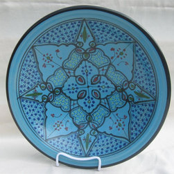 Le Souk Ceramique - Sabrine Small Serving Bowl - 12 in. wide. Hand Painted . Hand Made . Dishwasher safe . Microwave safe . Made in Tunisia. Lead free glazes . Meets CA Prop 65 . Meets all Federal StandardsIt seems we've captured the color straight from the sea! Soothing in cool, watery turquoise, our Sabrine pattern represents everything we love about art in pottery. A contemporary take on tradition, Sabrine displays intricate details of the fusion of the Spanish-Moorish art form. With artistic elements of the intersecting arches embellished with spots of color, our Sabrine pattern inspires thoughts of ancient at and architecture in a lavish dinnerware collection.