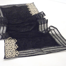 Table runner, in crushed black silk velvet with black and silver striped border - This Table runner has a base ground of a crushed black silk velvet. It has silver and black shenyl striped transparent border and silver lace at the two corners. It is very soft and nice to touch.
