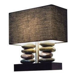 Elegant Designs Ceramic Table Lamp - 12H in. - Black Shade - Like meditative rock stacking without the work, the Elegant Designs Ceramic Table Lamp - 12H in. - Black Shade creates a serene feel. A table lamp of distinction, this one would look fantastic in your office or home. It features a square black base with stacks of glossy, natural looking rocks. It's topped by a rectangular black fabric shade. This lamp requires a 40-watt bulb (not included).