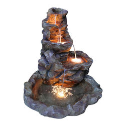 "Sunnydaze Decor - Lighted Stone Springs Outdoor Water Fountain - 41.5"" Tall x 39"" Deep x 36"" Wide, Fountain Weight- 67 lbs"