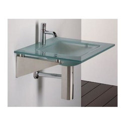 Whitehaus - New Generation Square Glass Counter Top w Bas - 0.5 in. matte glass counter top. Integrated square basin. Polished stainless steel angular wall mount supports. Single hole faucet drilling. Bowl: 14 in. W x 14 in. D x 5.5 in. H. Overall: 23.5 in. L x 22 in. W (50 lbs.). Warranty