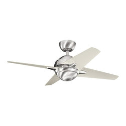 Kichler - Kichler Rivetta II 1-Light Brushed Stainless Steel Ceiling Fan - 300147BSS - This 1-Light Ceiling Fan is part of the Rivetta Ii Collection and has a Brushed Stainless Steel Finish.