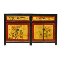 Golden Lotus - Chinese Yellow & Red Lacquer Floral Painting Side Table Cabinet - This is a Chinese solid elm wood side table. It has movable shelves for various storage purposes. This is a unique table with eye catching colorful painting.