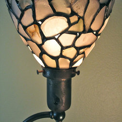 """Bermuda Floor Lamp"" with Sea Glass Shade - This standing brass lamp base c. 1940 with an inset of white alabaster was the inspiration for the varying shades of white sea glass picked up on the beaches of Bermuda.  Each piece of sea glass is wrapped with copper foil and soldered together finished with a black patina.  An art object in itself, when illuminated the colors of sea glass come alive showcasing the characteristics of the individual pieces."