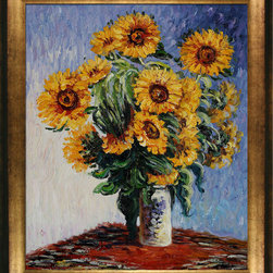 "overstockArt.com - Monet - Sunflowers Oil Painting - 20"" x 24"" Oil Painting On Canvas Monet's Sunflowers , also known as Tournesols , is a beautiful, impressionistic piece created in 1881. He also painted several bouquets of flowers similar to this one which includes dahlias, chrysanthemums and asters. Monet is often praised for painting realistic images of floral arrangements, and his talent can certainly be seen here. These particular sunflowers that were harvested for this painting lined Monet's garden staircase in V��_��__��_��__theuil, France. Born in 1840 in France, Monet was a key artist in the Impressionistic movement. Many of his subjects included the nature that was around him at the time - from the Normandy coasts to his garden in Giverny. The famous painting that has been featured in posters, coffee table books and in recreations is housed in the Metropolitan Museum in New York City. Now you can own a beautiful recreation of Sunflowers by Monet to display in your own home. It's been masterfully recreated by hand. Select one of our museum-quality frames to complement it."