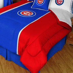 Sports Coverage - MLB Chicago Cubs MVP Micro Suede Comforter and Sheet Set Combo - Queen - Save money off our already low prices by getting the MLB Chicago Cubs MVP Micro Suede Comforter and Sheets together! The MVP Micro Suede Collection is unique in its appeal to both young and more mature tastes. Sporting team colors with sporty double porthole jersey edging, This generous-sized Comforter is made of faux suede coupled with jersey mesh on the sides and sporty double porthole jersey edging that stays colorfast, soft, and wrinkle-free. The comforter also has the team's same color on the other side! It is filled with 100% bonded polyester batting. Machine washable in cold water. Tumble dry in low heat. Microfiber Sheet Set have an ultra-fine peach weave that is softer and more comfortable than cotton! This Micro Fiber Sheet Set includes one flat sheet, one fitted sheet and a pillow case. Its brushed silk-like embrace provides good insulation and warmth, yet is breathable. It is wrinkle-resistant, stain-resistant, washes beautifully, and dries quickly. The pillowcase only has a white-on-white print and the officially licensed team name and logo printed in team colors. Made from 92 gsm microfiber for extra stability and soothing texture. Sheet Sets are plain white in color with no team logo.    Includes:  -  Flat Sheet - Twin 66 x 96, Full 81 x 96, Queen 90 x 102.,    - Fitted Sheet - Twin 39 x 75, Full 54 x 75, Queen 60 X 80,    -  Pillow case Standard - 21 x 30,    - Comforter - Twin 66 x 86, Full/Queen 86 x 86,