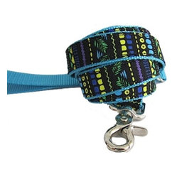 "chief furry officer - Designer Fabric Dog Leash - Sherman Oaks - cfo proudly presents""sherman oaks"". Fun and fabulous, our 100% cotton print captures a playful stripe of purple, black, green yellow, royal blue and turquoise. Paired with our Turquoise webbing, sherman oaks is a great choice."
