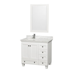 """Wyndham Collection - Acclaim 36"""" White SGL Vanity, Carrera Marble Top, UM Sq Sink, 24"""" Mrr - Sublimely linking traditional and modern design aesthetics, and part of the exclusive Wyndham Collection Designer Series by Christopher Grubb, the Acclaim Vanity is at home in almost every bathroom decor. This solid oak vanity blends the simple lines of traditional design with modern elements like square undermount sinks and brushed chrome hardware, resulting in a timeless piece of bathroom furniture. The Acclaim is available with a White Carrera or Ivory marble counter, porcelain sinks, and matching Mrrs. Featuring soft close door hinges and drawer glides, you'll never hear a noisy door again! Meticulously finished with brushed chrome hardware, the attention to detail on this beautiful vanity is second to none and is sure to be envy of your friends and neighbors!"""
