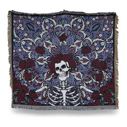 Zeckos - Grateful Dead Blue Bertha Roses Tapestry Throw Blanket 53 In. x 68 In. - This woven tapestry style Grateful Dead blanket is perfect to wrap yourself in warm memories of your favorite band featuring the Bertha Roses design in blue Made of 60% polyester and 40% cotton, it measures 68 inches long by 53 inches wide, and is recommended to machine or hand wash in cold water and air dry . This fringed blanket looks great draped over your couch or favorite chair and is perfect to take to festivals or camping. Buy one for Bertha, or for yourself, and enjoy its warm comfort till the morning comes.